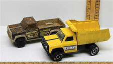 "2 Vintage Tonka Die Cast Trucks 7"" Dump Truck Yellow + Chevy Pickup Plastic Bed"