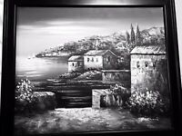 """Original Signed Oil on Canvas """"Moonlight by the Sea"""" by Rossinni 27"""" wide"""