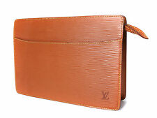 Authentic LOUIS VUITTON Pochette Homme Brown Epi Leather Clutch Bag LP10804L