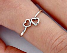 .925 Sterling Silver Ring size 5 Heart Midi Knuckle Fashion Kids Ladies New p93