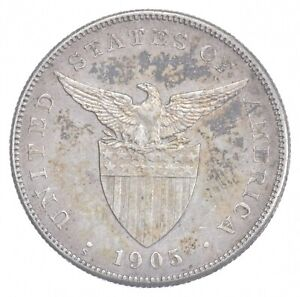 SILVER - WORLD COIN - 1905 Philippines 1 Peso - World Silver Coin *927
