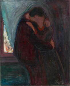Edvard Munch The Kiss Poster Reproduction Paintings Giclee Canvas Print
