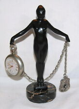 Beautiful Pocket Watch Holder French Design Deco Metal Stand Display Marble Base