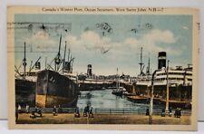 Canada's Winter Port, Ocean Steamers, West Saint John N.B.-7 Moncton Postcard D5
