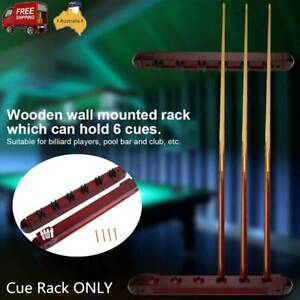 Snooker Pool Cue Rack Mount Hold Wooden Billiard Stick Holder Wall Fit 6 Cues AU