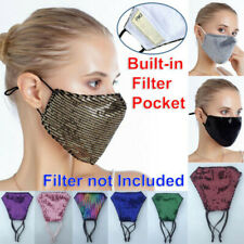 Sequin Glitter Fabric Fashion Bling Face Nose Mask Washable Reusable