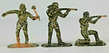 Vintage Hong Kong Made Gold Indians Native Americans 3 Plastic Figures No. 1006