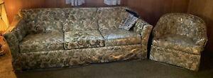 Flexsteel Couch/Sofa W/ Chair Green Tan Beige Floral In Plastic Vintage