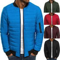 Men Winter Down Jacket Lightweight Packable Stand Collar Puffer Warm Coat Bomber
