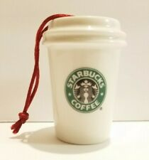 Starbucks White Porcelain Hot To Go Cup Christmas Ornament 2007