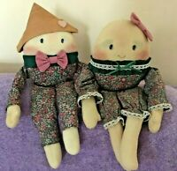 Vintage Humpty Dumpty pair Stuffed Cloth Shelf Sitter Doll plush toy  Handmade