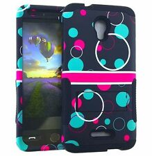 For Alcatel One Touch Fierce 4 - HYBRID KICKSTAND ARMOR CASE PINK BLUE BUBBLES