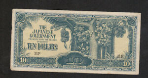 10 DOLLARS VERY FINE CRISPY  BANKNOTE FROM JAPANESE OCCUPIED MALAYA 1942 PICK-M7