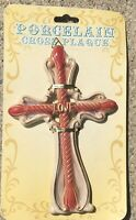 """Porcelain """"Love"""" Cross Wall Plaque 5 3/4 X 7 1/2"""" New On Card #2093"""