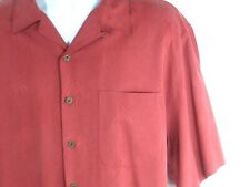 REYN SPOONER Large Shirt Red Aloha Hawaiian Regency Silk Jacquard Palm Trees