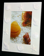 """White Seashell Table Top Photo Picture Frame ~ 8"""" X 10"""" ~ With Front Glass Panel"""