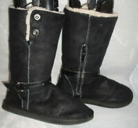 WOMENS ESMARA Black Pull On Faux Suede Winter/Snow Boots Size:4/37(WB997)