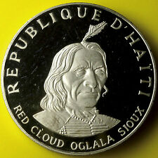 RED CLOUD OGLALA SIOUX  American Indian Chief 1.5 Oz .999 Silver Coin Haiti 1971