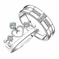Crystal Crown Lover Silver Couple Rings Wedding Band His and Her Promise Ring