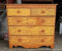 ANTIQUE 19th CENTURY AMERICAN FEDERAL CHEST WITH FOLK ART PAINT DECORATION