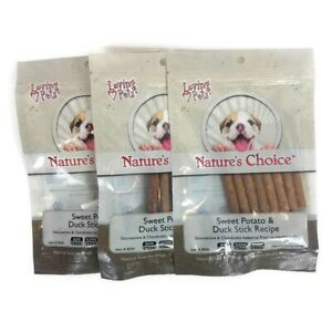 Sweet Potato and Duck Stick Dog Treats Snacks 3 Pack 6 OZ Total Resealable Pouch