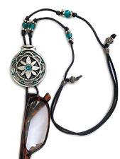 Handmade Eyeglasses Sunglasses Holder Adjustable necklace Silver & Green Flower
