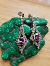 Art Deco Silver Amethyst & Marcasite Drop Earrings