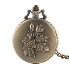 Women Vintage Retro Flower Quartz Pocket Dress Watch Pendant Chain Necklace