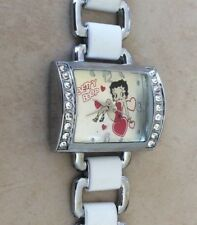BETTY BOOP Crystal Watch Rectangle Silver Diall on Silver & White Bracelet New!