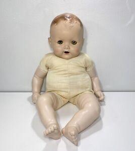 "Vintage 30's Composition 23"" Baby Doll Sleepy Eyes Molded Hair Teeth NO CRACKS!"