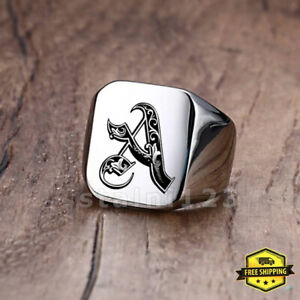 Mens Signet Ring Initial Letter Personalised Engraved Stainless Steel Band Metal