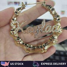 Custom Personalized Name Bamboo Trapezoid Hoop Earring Fashion Charm Jewelry
