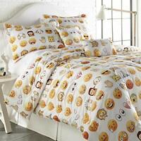 SPIRIT LINEN HOME TW Emoji Four-Piece Comforter Set, Twin, White,