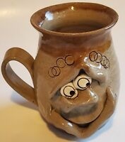 Pretty Ugly Pottery Coffee Mug Cup Face Handmade in Wales Glazed Stoneware