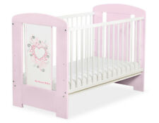 My Sweet Baby - Baby White Cot with Pink Heart - Pink