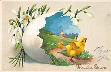 AK Litho. Fröhliche Ostern Küken mit Eierschale Schneeglöckchen 1915