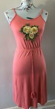 Brand New Primark Coral Floral Embroidered Strappy Summer Dress Size Uk 4