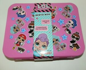 New Girls L.O.L. Surprise Bento Box Plastic Lunch Pink Blue 3 Food Compartments