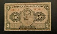1944 LUXEMBOURG 5 FRANCS PICK # 43b - WELL CIRCULATED BANKNOTE! -d2932dxx