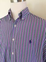 Polo Ralph Lauren Men's L/S Shirt Purple White Green Stripe Large L Blake Cotton