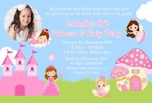 Personalised Twins / Joint Fairies / Princesses 2 Birthdays Invitations / Invite
