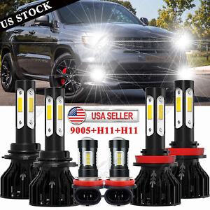 For Jeep Grand Cherokee 2014-2018 Combo 6x 4Side 6000K LED Headlight + Fog Bulbs