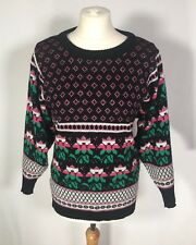 Vintage Multicoloured Knitted Floral Winter Jumper Sweater (S) 10/12 Topshop Cow