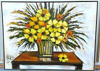 "Vtg SIGNED "" Mitchels "" Vanguard Studios MODERNIST PAINTING FLOWERS TABLE VASE"
