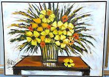 "Vtg SIGNED "" Mitchels "" Vanguard Studios MODERNIST PAINTING FLOWERS TABLE VASE"