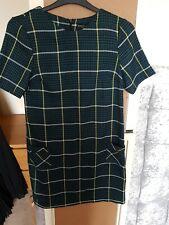 Dorothy Perkins 10 Shift Vestido comprobado verde de trabajo empresariales