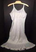Vintage Nylon Full Slip Ivory Off White Cream Lingerie Nightgown
