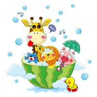 Cute Animals Bath Shower Stickers Kids Bathroom Bubbles House Decals Decorations