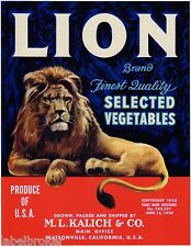 VEGETABLE CRATE LABEL LION BRAND WATSONVILLE CALIFORNIA ORIGINAL 1930S KING