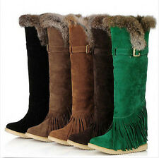 Winter Ladies Fringe Warm Mid Calf Boots Faux Suede Snow Boots Flat Warm Shoes